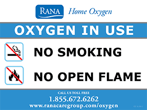 Oxygen In Use Warning Sign
